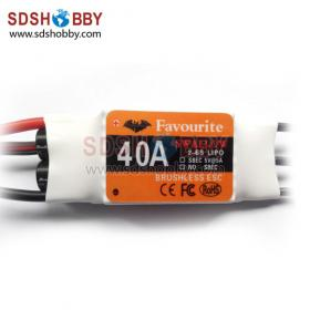 FVT 40A Brushless ESC/Speed Controller (Swallow Series) for RC Airplane with SBEC & Using BIHELI Program