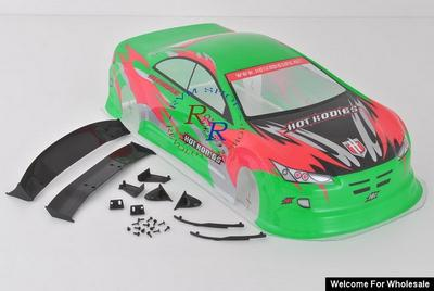 1/10 Hot Rodies Analog Painted RC Car Body With Rear Spoiler (Green)