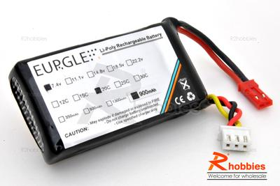 Eurgle 7.4v 2S1P 20C 900mAh Lipo Battery Pack (for Lama RC EP Helicopter)