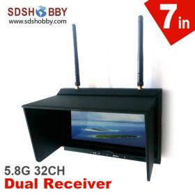 7in FPV Monitor/ Displayer Built-in 32CH 5.8G Diversity Dual Receiver with Folding Sunshade Sky-702