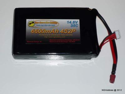 4 Cell 6600mAh Flat LiPo Battery