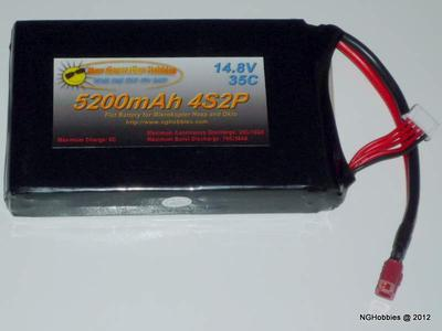 4 Cell 5200mAh Flat LiPo Battery
