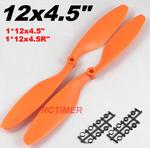 "1 Pair Orange 12x4.5"" 1245EPP Counter Rotating Propellers"
