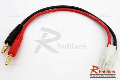 180mm 14 AWG Charge Cable w/ Male Standard Tamiya Connector  4mm Banana Plug