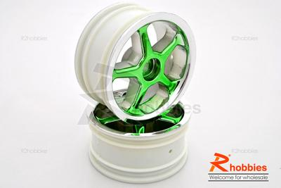 1/10 RC Car 5 Spoke Wheel Metallic Sports 26mm - Green (2pcs)