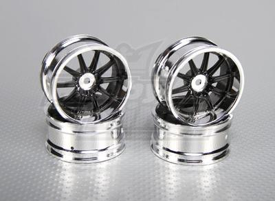 1:10 Scale Wheel Set (4pcs) Chrome/Black 10-Spoke RC Car 26mm (6mm offset)