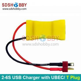 2S-6S Lipo to USB Charger with UBEC Function, T Plug