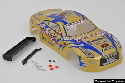 1/18 Nissan Skyline Analog Painted RC Car Body with Rear Spoiler (Gold)