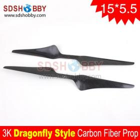 One Pair* 15*5.5/1555 Dragonfly Style Carbon Fiber Positive and Reverse Propellers for Multicopter