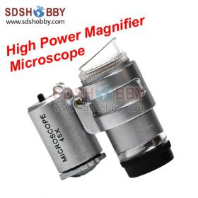 High Power Magnifier/ Magnifying Glass/ Top Grade Compact-type 45times Microscope/ Focusable Magnifier with LED light