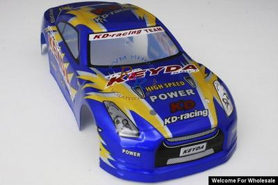 1/18 Nissan Skyline Analog Painted RC Car Body with Rear Spoiler (Blue/Gold)